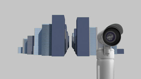 Surveillance cameras in the city Animation