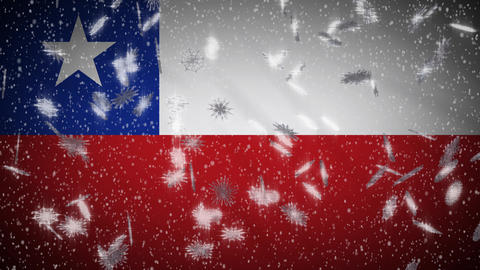 Chile flag falling snow loopable, New Year and Christmas background, loop Animation