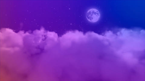 Pink cloudy against purple starry sky Animation