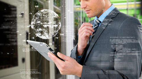 Businessman studying on his tablet Animation