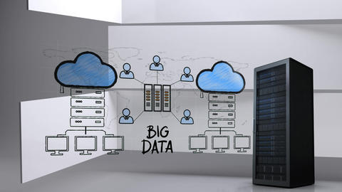 Data server and drawing of data server and clouds Animation