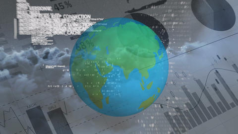 Spinning globe and data informations against financial data document 4k Animation