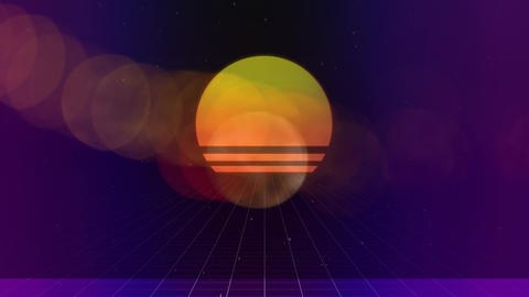 Sunset at beach with discreet bubble on foreground on purple background Animation