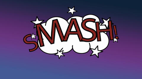 word smash explosion on cloud in cartoon design Animation