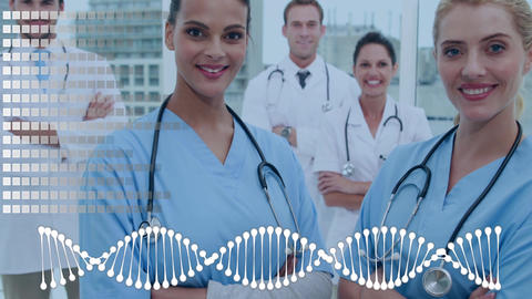 Team of doctors surrounded by an animation of DNA helix and grid pattern Animation
