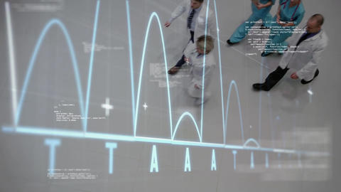 doctors walking on lobby hospital. moving graph on foregroung with irregular curves on abscissa Animation