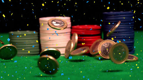 Poker chips surrounded by euro coins and cofetti falling Animation