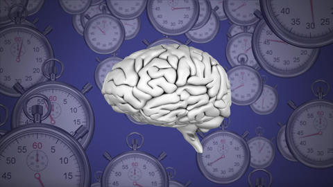 Spinning brain against clocks on a purple background Animation