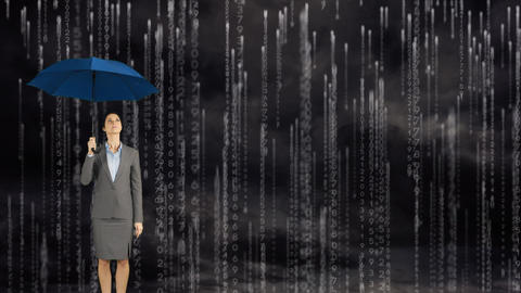 Woman with an umbrella under the rain Animation