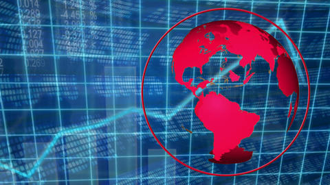 Digitally generated animation of data of stock exchange with a red turning globe Animation