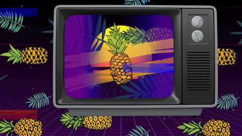 Front view of an old TV with sizzling screen when TV switch on then pineapple Animation