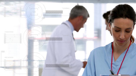 Caucasian female doctor smiling. Behind her there are two caucasian male doctors interacting togethe Animation