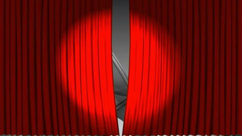 Theatre curtains revealing a film roll Animation