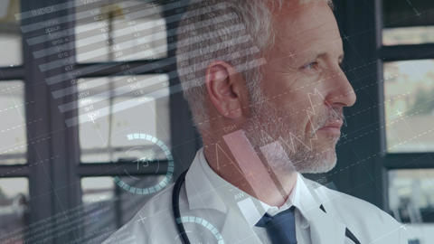 Thoughtful caucasian doctor with grafic animation on foreground Animation