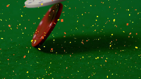 Animation of poker chips falling against a green background Animation
