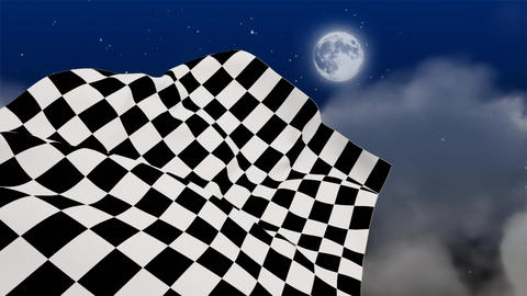 Checkered flag waving in starry night Animation