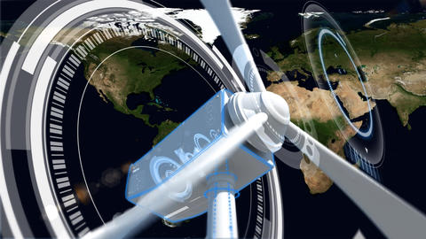 Wind turbine with proppelers turning while there is map on background Animation