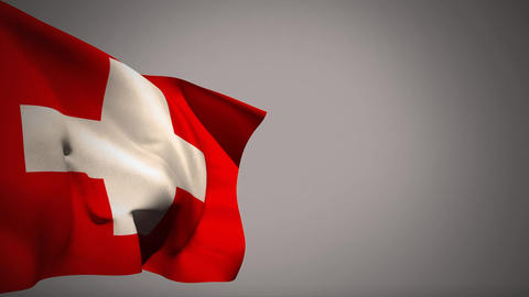 Switzerland flag waiving in the wind Animation