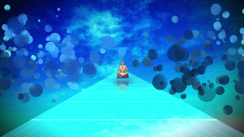 Young woman doing yoga siting on blue floor against blue sky Animation