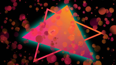 Animation of colorful triangle against bubbles effect Animation