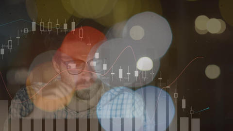 Surface level view of an exhausted businessman working in office later Animation
