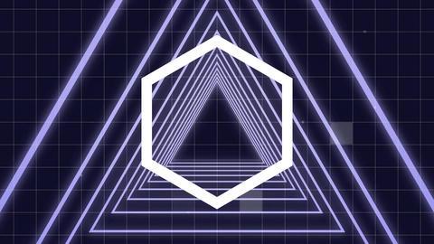 Luminous hexagon turning on corridor of luminous triangle with virtual sizzle square falling on back Animation