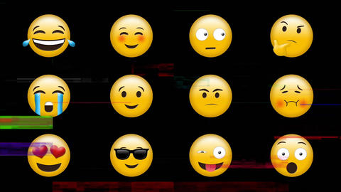 Emoji with different feelings and reactions Animation