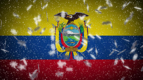 Ecuador flag falling snow loopable, New Year and Christmas background, loop Animation