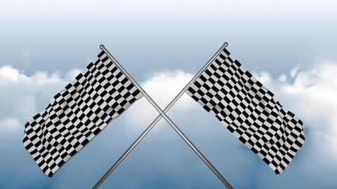 Racing flags waving in the sky Animation
