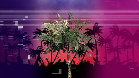 Palm tree with other palms in the shade while virtual square sizzling like pixels on foreground Animation