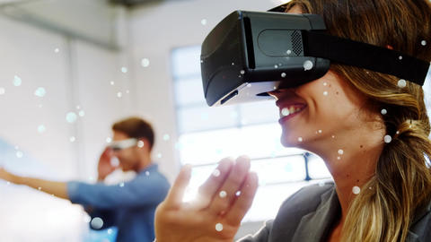 Happy female using virtual reality headset Animation