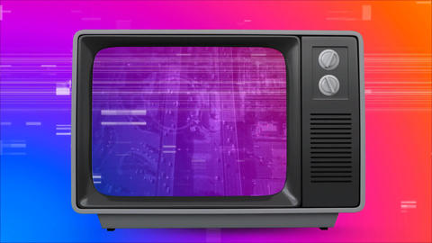 Old TV with cityscape on the screen against colorful scrambled effect Animation