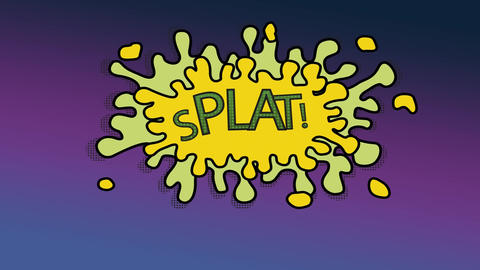 Cartoon animation of splat write on a splash with a purple background Animation