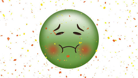 Nauseated face emoji Animation