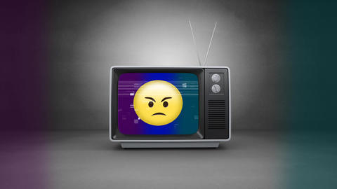 Retro television with angry emoji on sizzling screen. TV is on the floor on grey room Animation