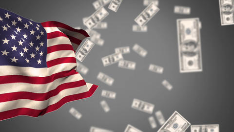 American flag with dollars Animation