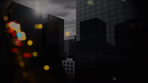 Citylandscape with skyscrappers on cloudy day with animation bubble Animation