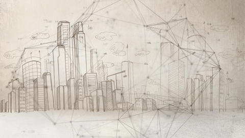 Connected point drawn with city landscape drawn on background Animation