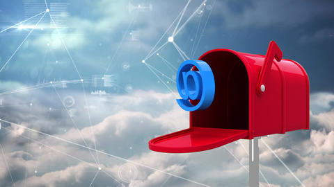Letter box with an at exiting. Points linking together with line on cloud background Animation