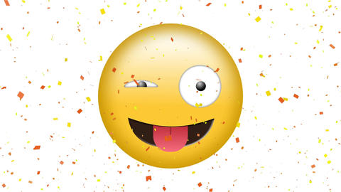 Winking face with sticking out tongue emoji Animation