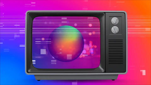 Old TV post showing a colorful globe against a multi color background with TV sizzling Animation