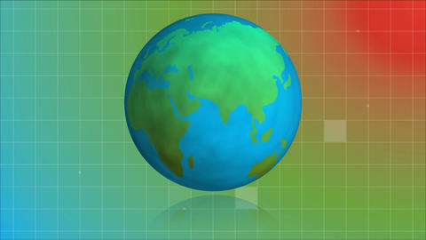 Globe turning around itself with sizzle squares falling on retro background Animation