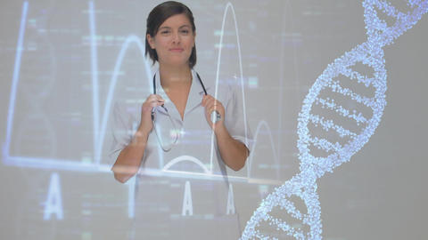 DNA molecule and data charts on a black screen with a female doctor smiling on the foreground Animation