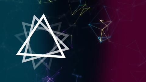 Digitally generated animation of geometric triangle turning in foreground Animation