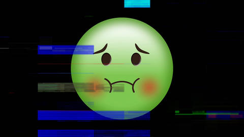 Green Nauseated face emoji Animation