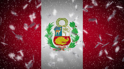 Peru flag falling snow loopable, New Year and Christmas background, loop Animation