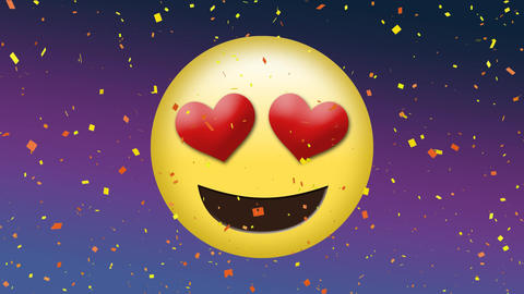 Loved up emoji with heart eyes Animation