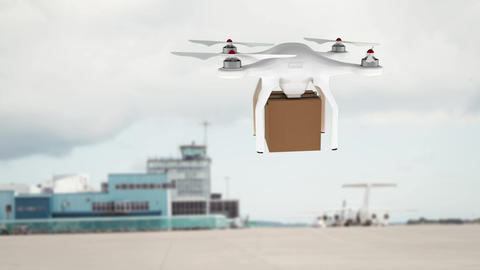Animation of delivery drone against a cargo ship Animation