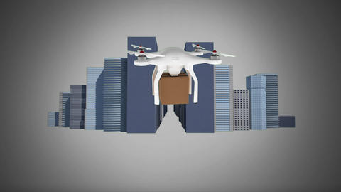 Drone holding a package traveling in the city Animation