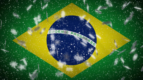 Brazilia flag falling snow loopable, New Year and Christmas background, loop Animation